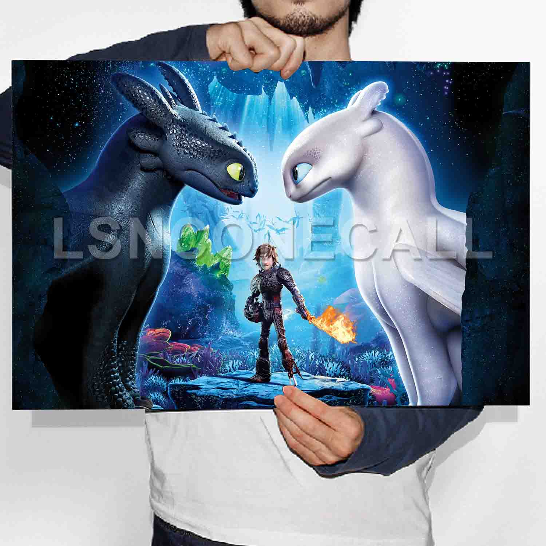 "How to Train Your Dragon 3 Night Fury Light Fury Poster 19x12/"" 24x36/"" 18x24/"""