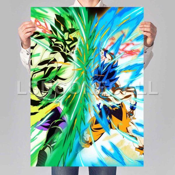goku vs broly Poster Print Art Wall Decor